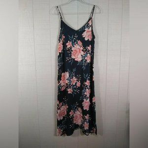 Billabong Dark Floral Print Maxi Dress Roses